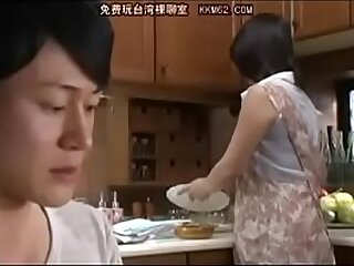 Japanese mom with an increment of Son in bathroom