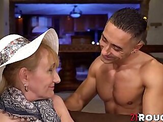 Mature granny hammered by young smile radiantly
