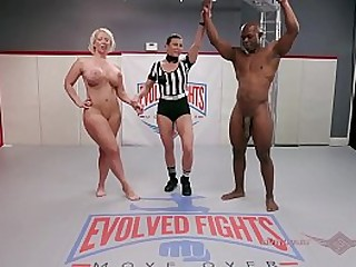 Alura Jenson and Main support Tile go at their wrestling match unexcelled like the Navy and Marines can